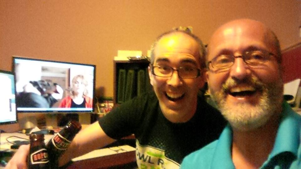 Editor/Producer André Goguen and Director/Producer Danny Thebeau celebrate finishing Owl River Runners.