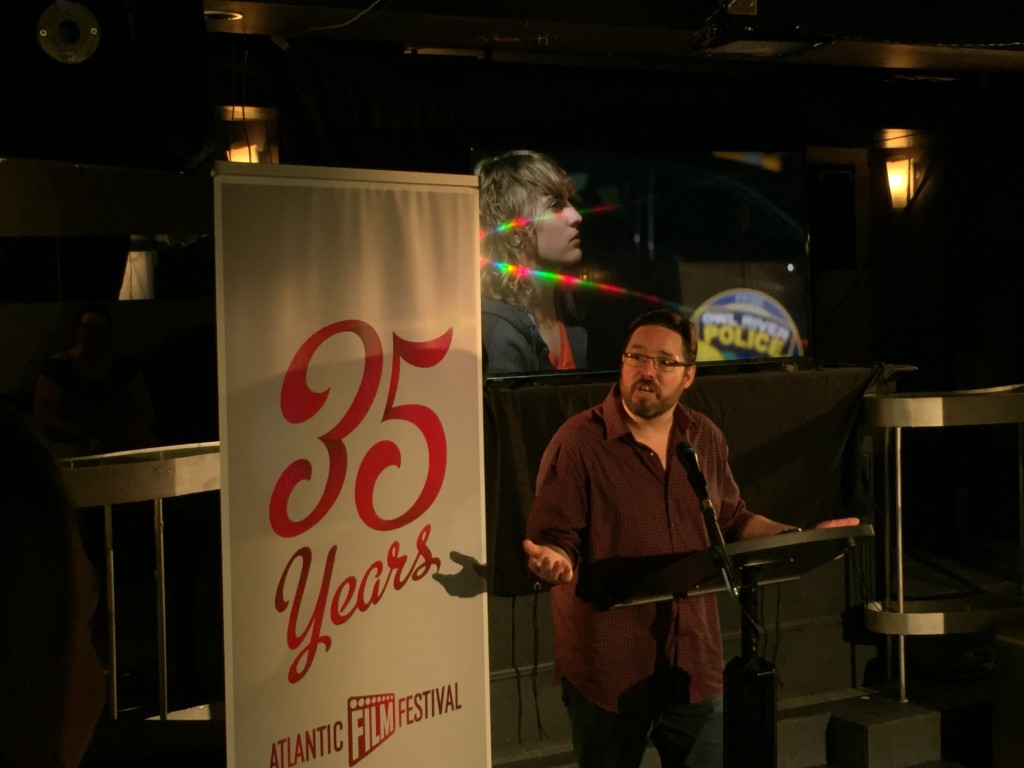 Jason Beaudry announces Owl River Runners at the launch event for the Atlantic Film Festival